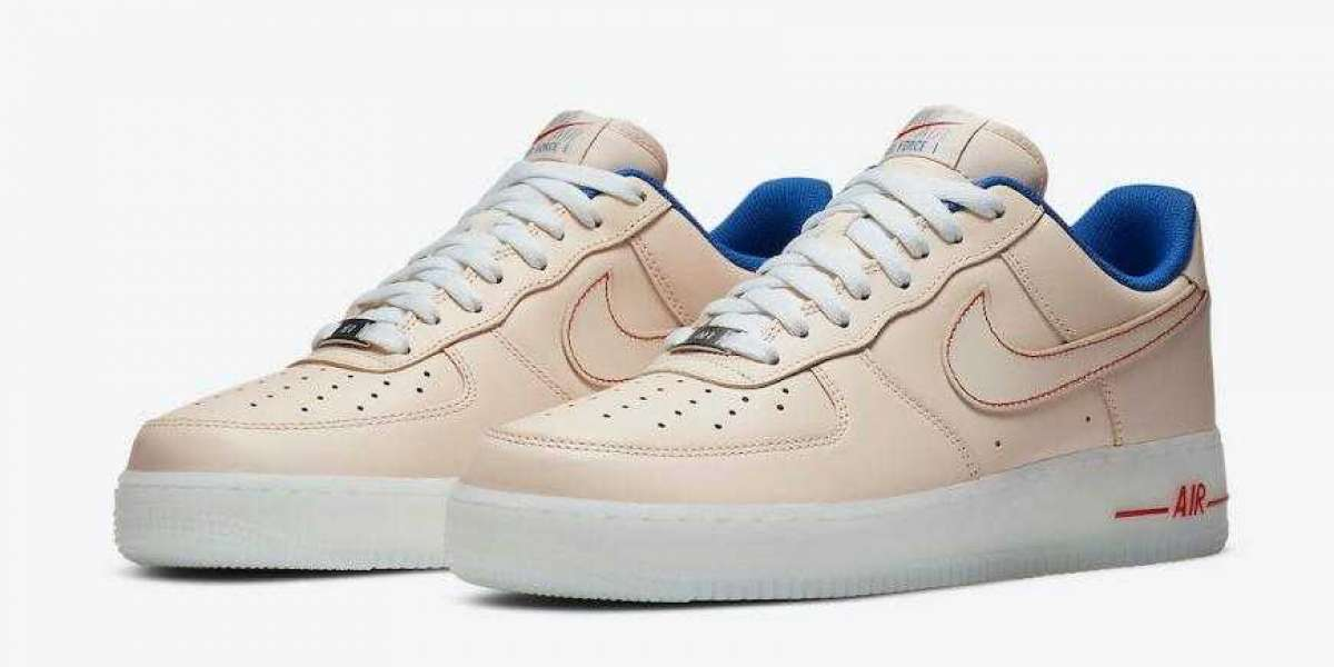 Womens Nike Air Force 1 Beige Blue Translucent Soles for Sale