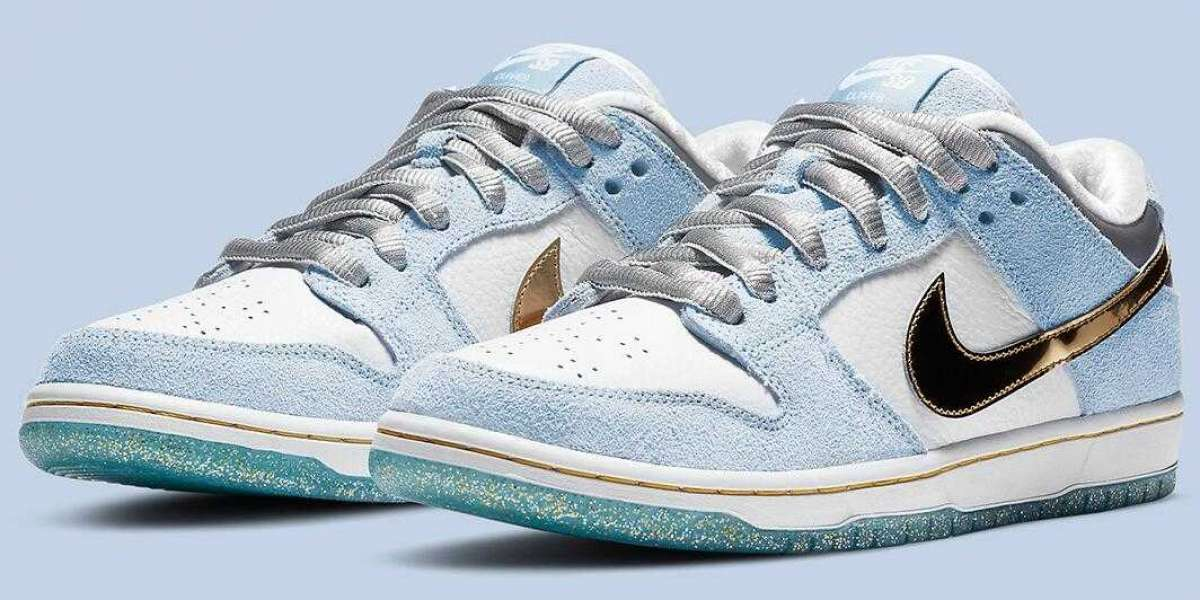 Sean Cliver x Nike SB Dunk Low White Psychic Blue Metallic Gold for Sale