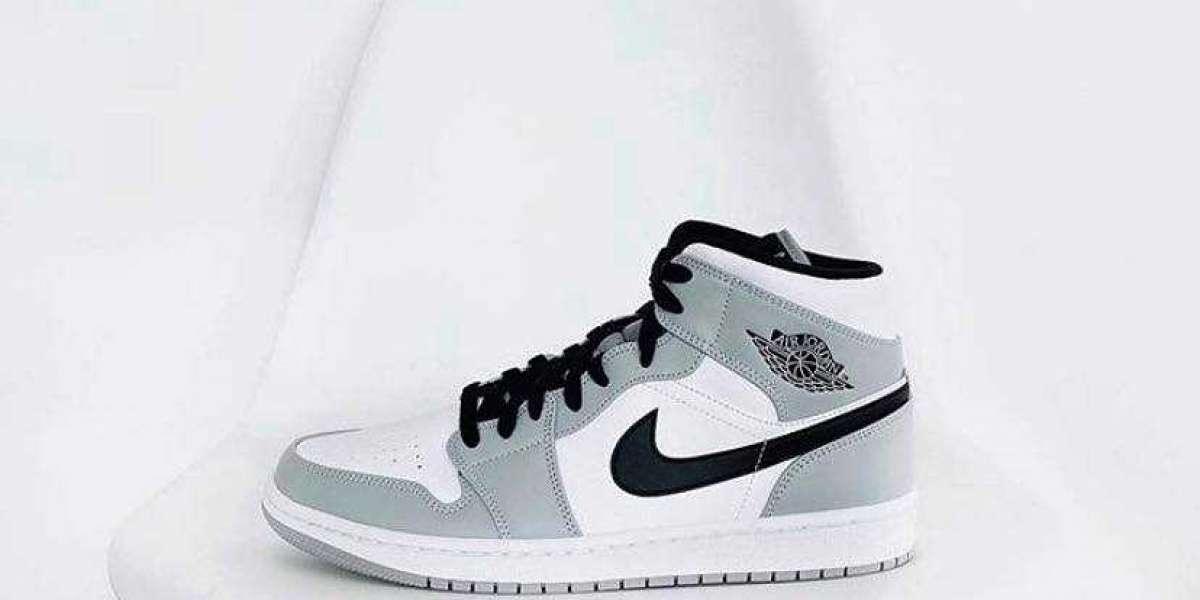 Nike Air Jordan 1 Mid Light Smoke Grey Shoes for Men and Women