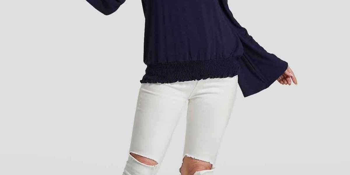 Off The Shoulder Plain Lace-Up Long Sleeve Flounced Hem Black Plus Size Tops